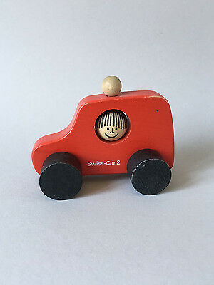 "Vintage NAEF Wooden Toys - ""SWISS-CAR-2"" Red - Swiss Design"