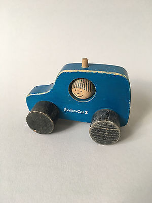 "NAEF Wooden Toys - ""SWISS-CAR-2"" Blue - Vintage Swiss Design"