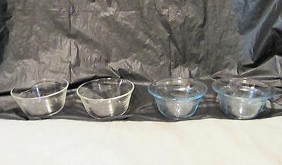 Vintage Custard Cups Ramekins 2 Pyrex 3 Ring, 2 Sapphire Blue Philbe lot 4 LQQK!