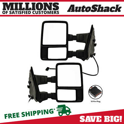 Pair of New Mirror Heated Side Mirrors w/Signal Light for 03-07 Ford F250 350 SD