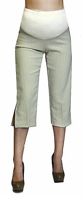 b9f5b97a96f39 Beige Maternity Capri Pregnancy Bottoms Pants Cropped Confy Elastic Ribbon