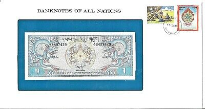 Bhutan 1 Ngultram uncirculated  packaged banknote with stamp,cancellation