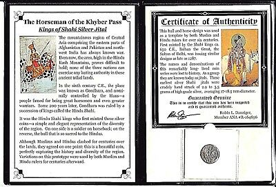 Kings of Shahi Silver Jital Coin,Horseman Of The Khyber Pass,Album & Certificate