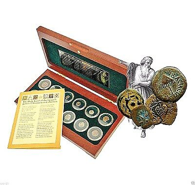Set of 12 Bronze Coins from Judaea at the Time of Jesus With Box,Highest Quality