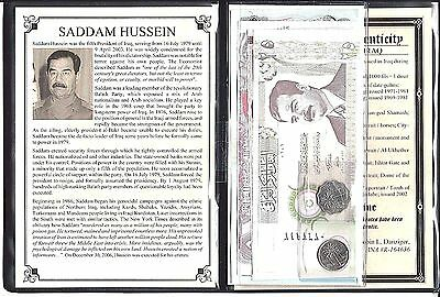 Saddam Hussein Set of 7 Banknotes and 2 Coins with Story,Certificate and Album