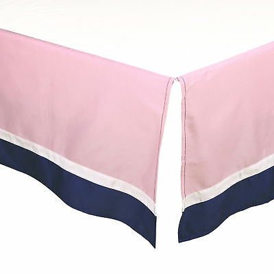 Pink and Navy Blue Tailored Crib Dust Ruffle by The Peanut Shell