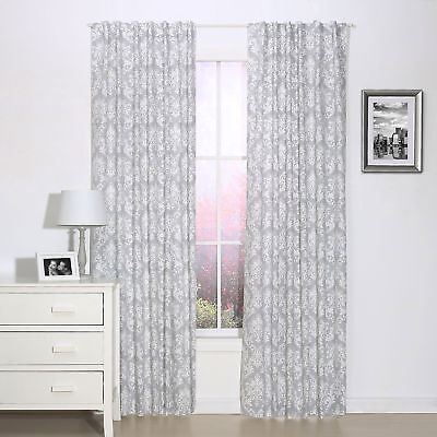 Grey Damask Print Blackout Window Drapery Panels - Two 84 x 42 Inch Panels