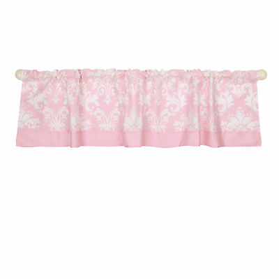 Pink Damask Print Window Valance by The Peanut Shell - 100% Cotton Sateen