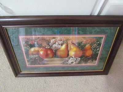 """Home Interior / Homco Picture With Pears Cherry Frame 23 1/4"""" Wide"""