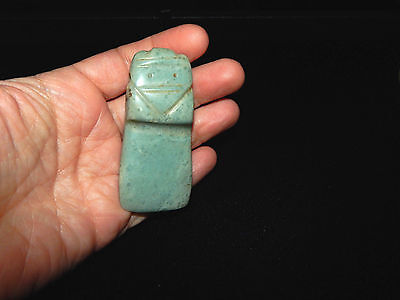 Pre-Columbian Avian Axe God Pendant, Seafoam Jade, Authentic