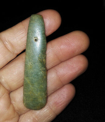 Authentic Pre-Columbian Green Jade Ceremonial Celt Pendant, Beautiful Shape