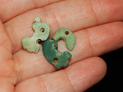 Pre-Columbian Green Stone Beads, Set of 3, Authentic, Carved, Rare Shape
