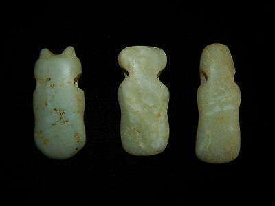 Pre-Columbian Avian Jade Pendant Collection, Set of 3,  Authentic, Custom Stand