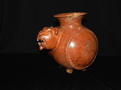 Pre-Columbian Mayan Jaguar Effigy Vessel, Authentic