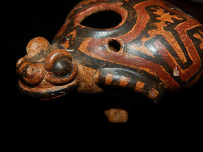 Pre-Columbian Polychrome Frog Effigy, Authentic, Costa Rica Pottery