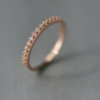 Rose Gold Thin Eternity Crystal CZ Ring Sterling Silver 925 Best Choice gift
