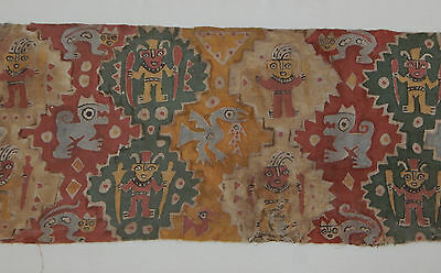 Pre-Columbian Chancay Textile Fragment with Warriors