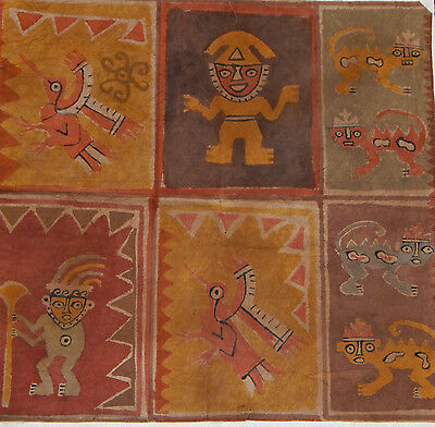 Pre-Columbian Chancay Textile Fragment with Warriors and Felines