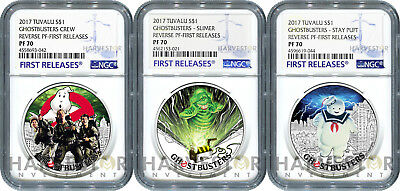 2017 Ghostbusters Coin Series - Complete 3-Coin Set - Ngc Pf70 First Releases