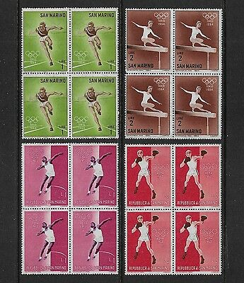 SAN MARINO - mixed mint collection 1960 1964 Olympic Games, blocks of 4, MNH MUH