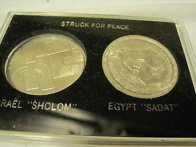 Struck For Peace Coins-1969 Israel 10 Lirot& Egypt Sadat Peace In Plastic Case