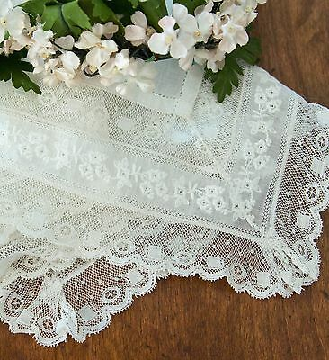 Antique Edwardian French Normandy Valenciennes Lace  Hanky