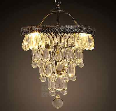 Vintage Style Pendant Crystal Antique Finish Ceiling Hanging Lamp Chandelier Hot