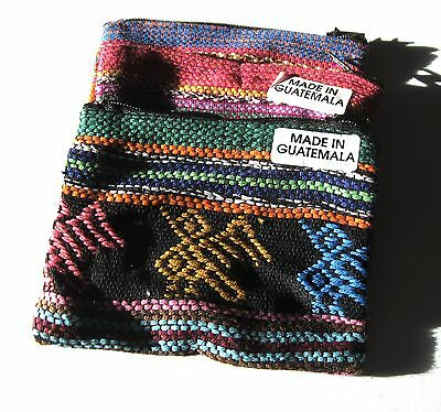 "3 Hand Made Guatemalan 3"" X 4"" Colorful Cotton Zipper Pouch Bags"