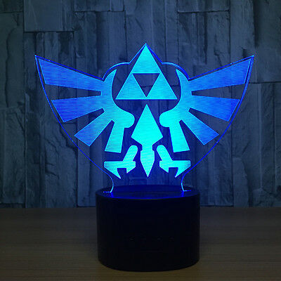 3D Legend of Zelda Triforce Night Light LED Decor Table Desk Lamp Art Lantern