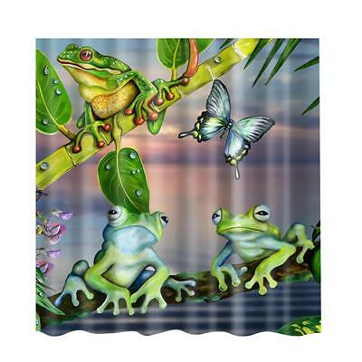 Frogs Print Shower Curtain Water Resistant 180x180cm Washable Panel #1