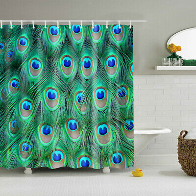 Shower Curtain Peacock Bathroom Liner Fabric Sheer Panel with Hooks Set