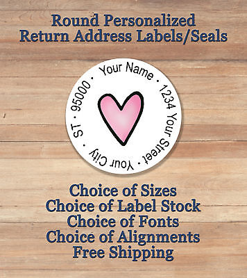 PINK HEART Personalized Printed Peel & Stick ROUND Return Address Labels