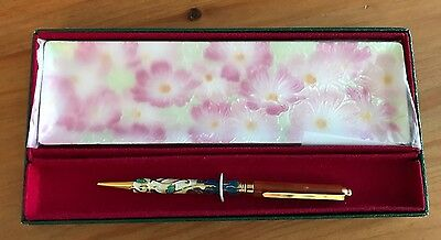 VIntage Chinese Cloisonné Ball Point Pen/ Desktop Pen Tray New In Box
