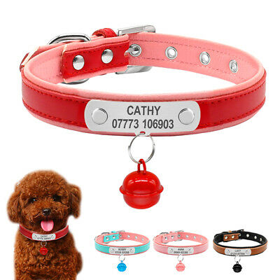 Padded Custom Personalized Dog Collars With A Bell Name Phone Engrave For Free