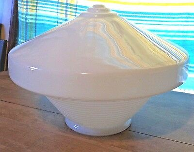"""ANTQ very LG (46"""" around/10"""" deep) conical ribbed ceiling light globe-rare style"""