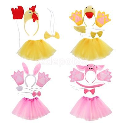 Kid Animal Costume Chick Duck Bunny Pig Set Halloween Cosplay Party Fancy Dress