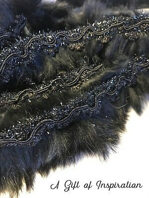 Black Fur Trim Tassel Fringe DIY Braided Applique Lace DIY Craft Price per 30cm