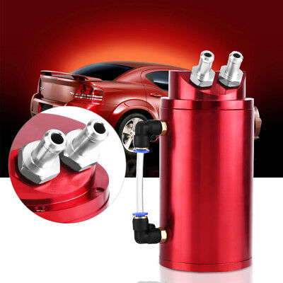 Universal Car Auto Oil Catch Tank Breather Can Reservoir Round 10&15mm Fittings