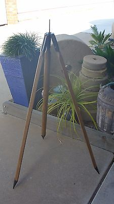 Vintage Antique Wooden & Metal Surveyors Tripod - 1969 - convert to floor lamp..