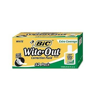 BIC Wite Out Extra Coverage Correction Fluid 20 ml Bottle White 12 Pack