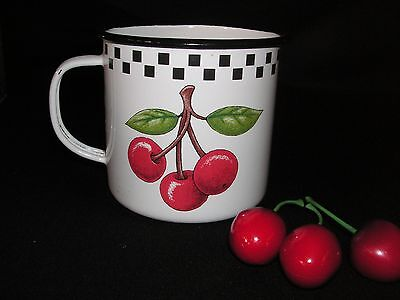 Rare Htf Retired Mary Engelbreit Cherries Enamel Ware Cup Mug Checks 2000