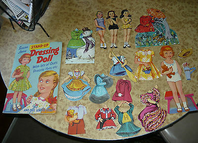 Vintage 50s 60s SUSAN JANE Dressing Doll Book Standup Paper Cutout & Story Book