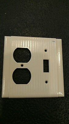 1 Ivory Vintage Ribbed Deco 2 Gang Single Switch One Outlet Bryant Plate Cover