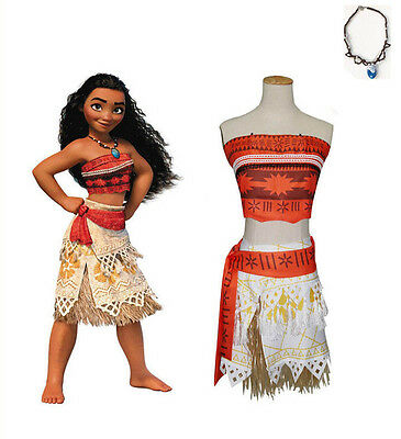 Kid Costume Disney Moana Princess Girl Cosplay Fancy Dress Deluxe Dress Necklace
