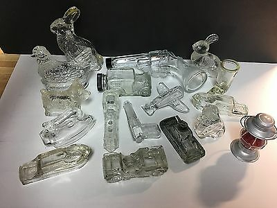 17 Different Vintage Glass Candy Containers, Good Assortment