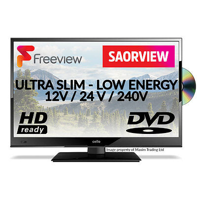 "20"" 12 Volt HD Freeview Ultra Slim LED TV DVD Caravan Boat HGV 24V 12V Soarview"