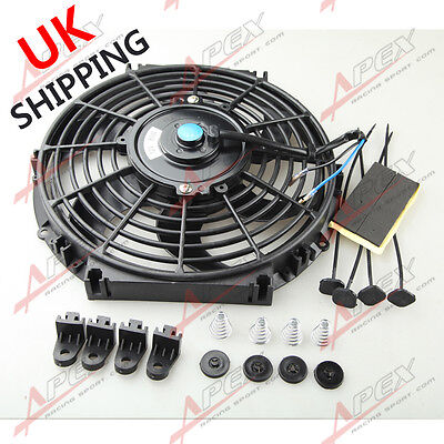 """Universal 10"""" Radiator Electric Cooling Curved S-Blade Reversible Muscle Car UK"""