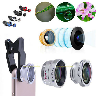 3in1 Universal 180° Fish Eye+ Wide Angle+ Macro Camera Lens Kit for iPhone 7 6s