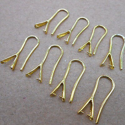 10PCS DIY Jewelry Design Finding 18K GOLD Pinch Bail Hooks For Stone Earring