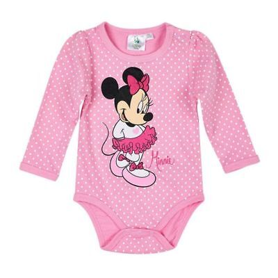 Disney Minnie Body, Langarm, Glitzereffekt, rosa, Gr. 62-92